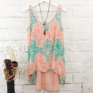 Coral/Teal High Low Tank